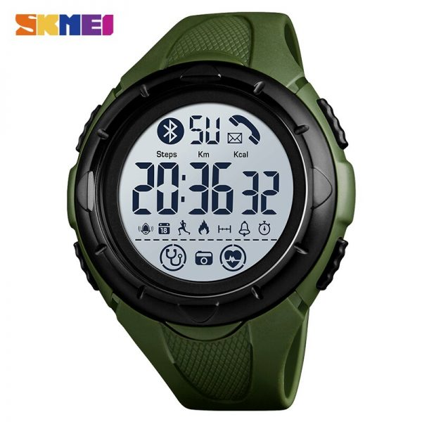 SKMEI Fashion Men Digital Wristwatches Military Heart Rate Monitoring Pedometer Alarm Sports Watches Montre homme 1542 Clock