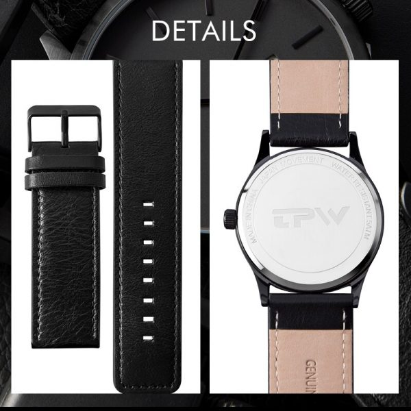 Classic Men Watch High quality Steel Case Leather Band Quartz Watches Luxury Business Style Man Wristwatch clock