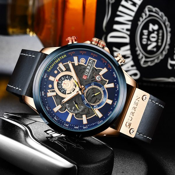Top CURREN Sports Watch Men Quartz Wristwatch Chronograph Male Watches Leather Strap Clock Quartz часы мужские наручные