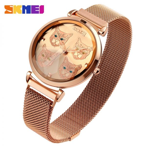 SKMEI Creative Cartoon Cat Dial Women Ladies Quartz Watches Top Brand Mesh Steel Strap Female Wrist Watch Relogio Feminino 1767