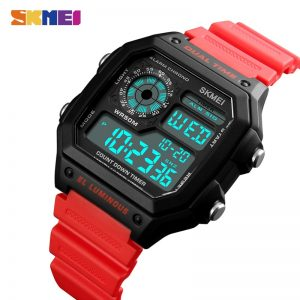 SKMEI Men Electronic Sports Watches Countdown Stopwatch Calendar Digital Watch 5Bar Waterproof Male Clock Relogio Masculino 1299