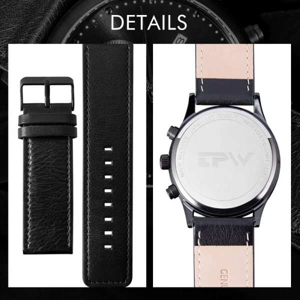 Chronograph Genuine Leather Belt Fashion Quartz Black Watch Mens Watches Top Brand Luxury Waterproof Clock Relogio Masculino