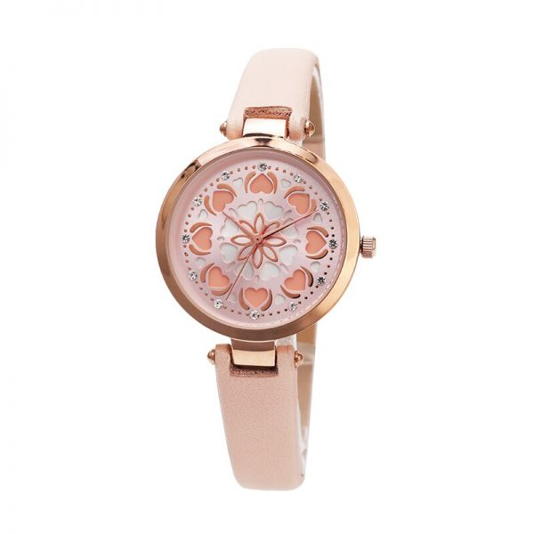 Rose Dial Luxury Women Watches Romantic WristWatch Pink Strap Leather Rhinestone Design Ladies Clock