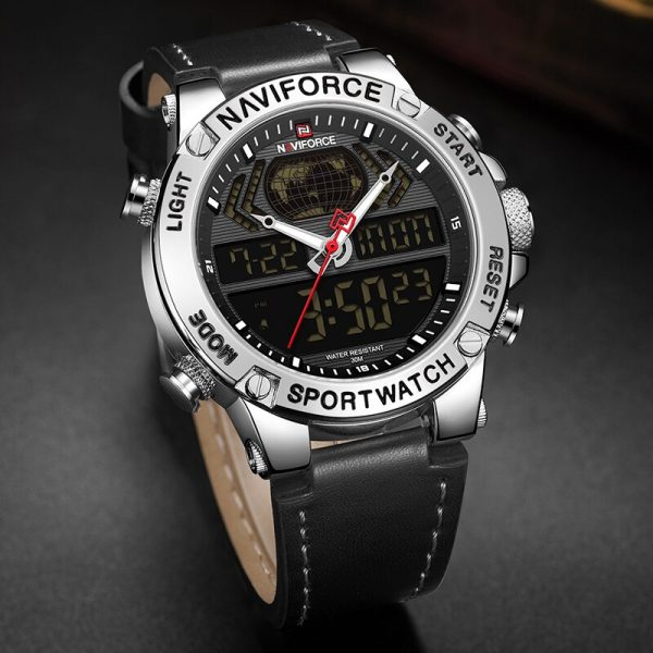 NAVIFORCE Top Brand Mens Fashion Sport Watchs Men Leather Waterproof Quartz Wristwatch Military Analog Digital Relogio Masculino