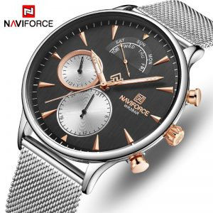 NAVIFORCE Men Watch Top Brand Fashion Business Men's Watches Stainless Steel Mesh Male Clock Waterproof Quartz Relogio Masculino