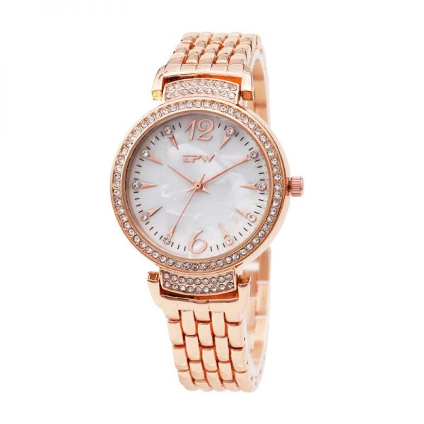 Women Watch Rose gold Luxury Ladies Fashion Rhinestone Starry Watches Stainless Steel Strap Valentine Gift