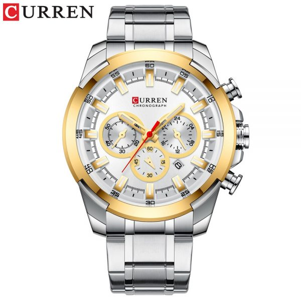 CURREN New Top Fashion Casual Stainless Steel Watches Men Quartz Wristwatch Chronograph Bussiness Watch Luminous Clock Male