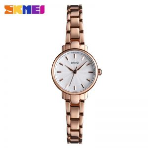 SKMEI Luxury Stainless Steel Strap Women Quartz Watch Simple Girl Business Watches Female Wristwatches Montre Femme Clock 1410