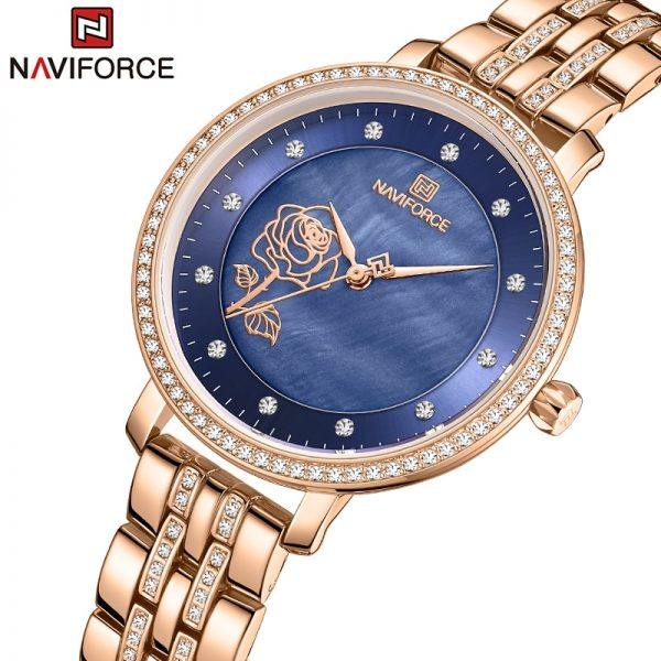 NAVIFORCE Luxury Ladies Watch Women Waterproof Rose Gold Steel Strap Women Watches Top Brand Bracelet Clocks Relogio Feminino