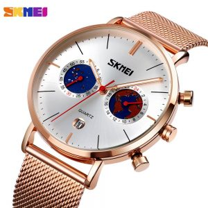 SKMEI Waterproof Men Quartz Watches Luxury Stainless Steel Bracelet Male Wristwatch Stopwatch Date Clock Relogio Masculino 9231
