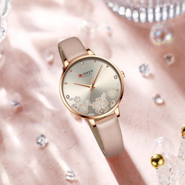 CURREN Luxury Brand Women Watch with flower Dial Quartz Leather Strap Charm Wristwatch for Ladies Elegant Christmas Holiday Gift