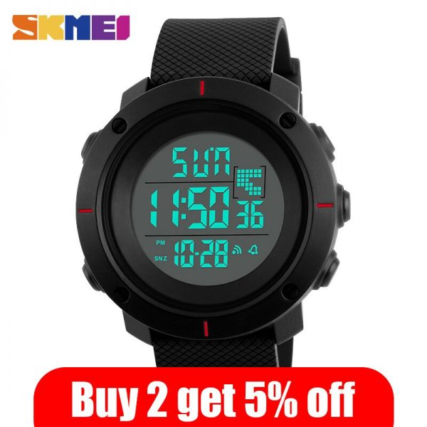 SKMEI Men Sport Watch Big Dial Digital Military Outdoor Wristwatches Back Light Chronograph Alarm 50M Waterproof Watches 1213