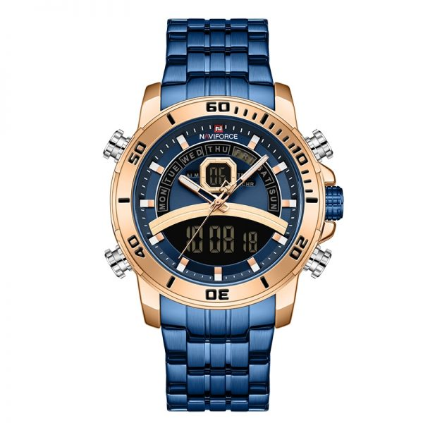 NAVIFORCE Men Watch Top Luxury Brand Blue Big Sport Watches Mens Chronograph Quartz Wristwatch Stainless Steel Male Clock Reloj