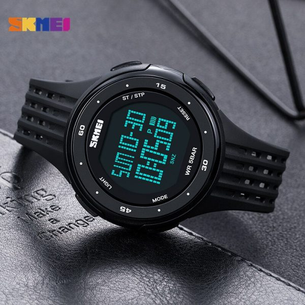 SKMEI Men Sport Digital Watches Big Dial LED Display Wristwatches Chronograph Calendar Backlight Alarm Relogio Masculino 1219