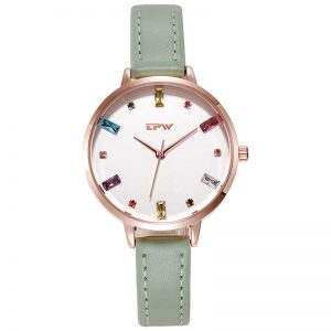 Gemstone Ladies WristWatches Big Dial Leather Strap Modern Stylish Light Luxury Business Clock Women Montre Femm