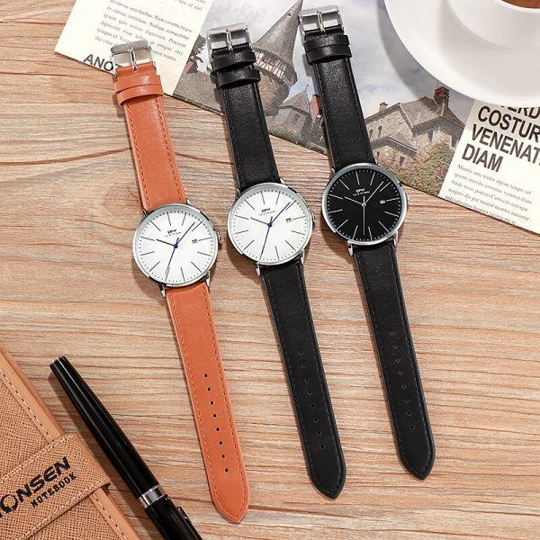 Luxury Casual Business Men Watch With Calendar 3ATM Water Resistant Japan Movement 3 Year Battery Life Leather Strap