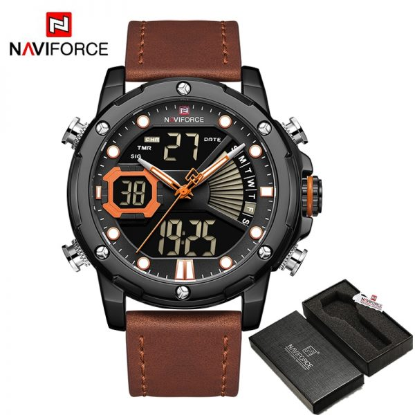 NAVIFORCE Luxury Digital Sports Watches for Men Military Chronograph Male Quartz Wrist Watch Leather Band Waterproof Brand Clock