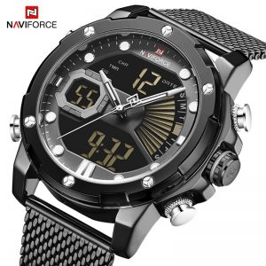 NAVIFORCE Luxury Mens Watches Quartz Steel Strap Military LED Digital Sport Wrist Watch Waterproof Clock Men Relogio Masculino