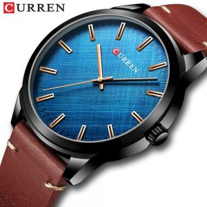 New CURREN Mens Watches Luxury Brand Blue Wristwatch For Men Leather Band Military Waterproof Sport Fashion Quartz Clock 8386