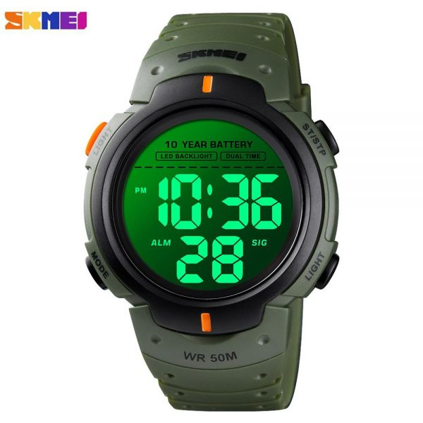 SKMEI 5Bar Waterproof Men Sports Watches Luminous Male Clock Stopwatch Alarm Electronic Wristwatches Battery lasts For 10 years