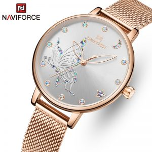 NAVIFORCE Luxury Crystal Watch Women Top Brand Rose Gold Steel Mesh Ladies Wrist Watches Bracelet Girl Clock Relogio Feminino