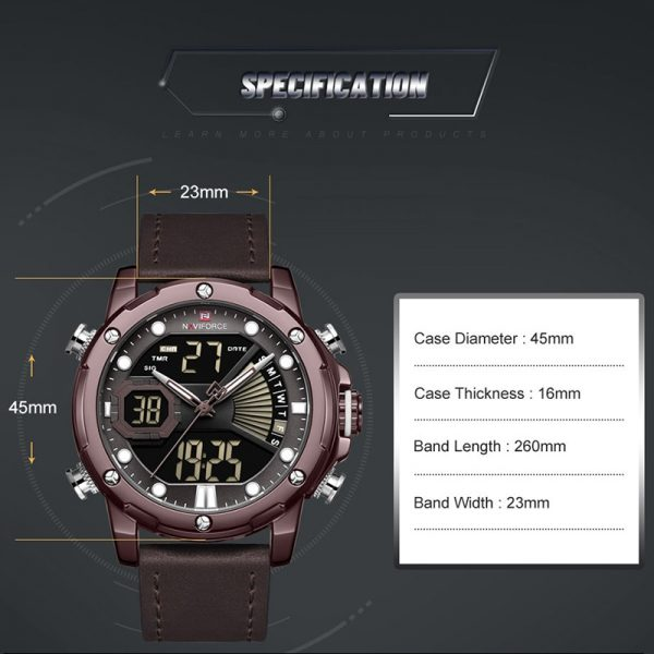 NAVIFORCE Fashion Luxury Men's Quartz Watches Digital Sports Military Wristwatch Leather Band Wateproof Clock Relogio Masculino
