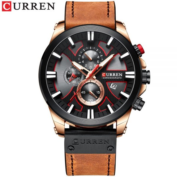 CURREN Watch Chronograph Sport Mens Watches Quartz Clock Leather Male Wristwatch Relogio Masculino Fashion Gift for Men