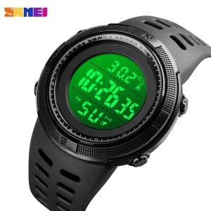 SKMEI LED Display Body Temperature Measurement Men Sport Watches Electronic Male Clock Stopwatch 50m Waterproof Men's Watch 1681