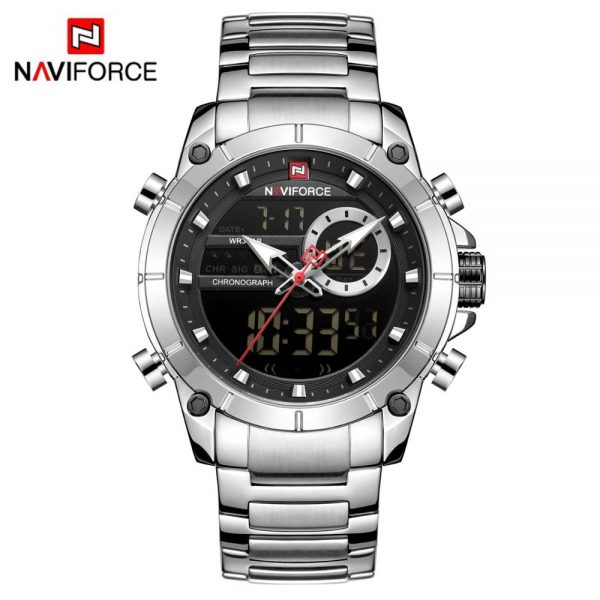 NAVIFORCE Mens Military Sports Wrist Watch Blue Quartz Steel Strap Waterproof Dual Display Male Clock Watches Relogio Masculino