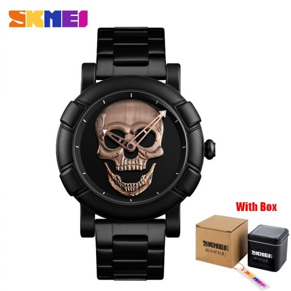 SKMEI Skull Watch Men Watches Luxury Brand Quartz Watch Sport Waterproof Stainless Steel Male Wristatch Reloj Militar Clock 9178