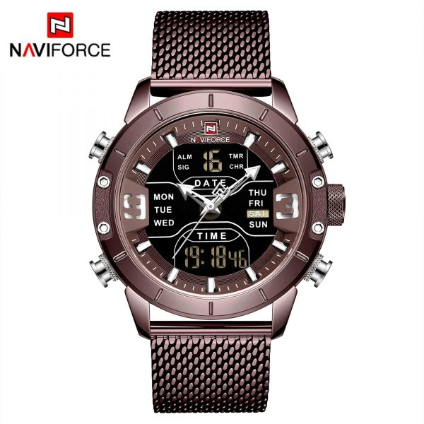 Mens watch top brand luxury NAVIFORCE 9153 stopwatch LED sport military waterproof steelstrap wristwatch relogio masculino clock