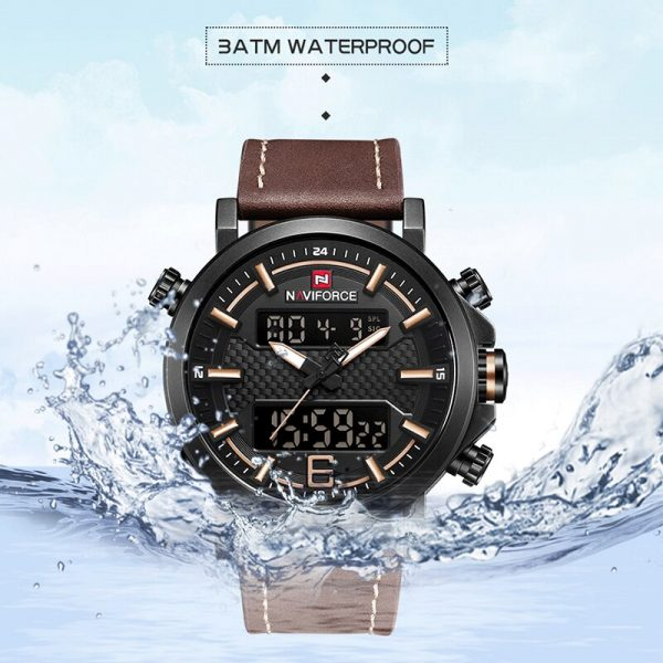 2019 NAVIFORCE New Men's Fashion Sport Watch Men Leather Waterproof Quartz Watches Male Date LED Analog Clock Relogio Masculino