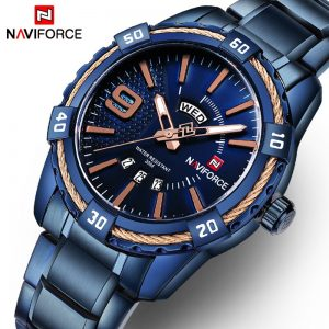 NAVIFORCE Men's Watch Blue Dial Stainless Steel Water Resistant Man Watches Luxury Business Analog Quartz Mens Watches Fashion