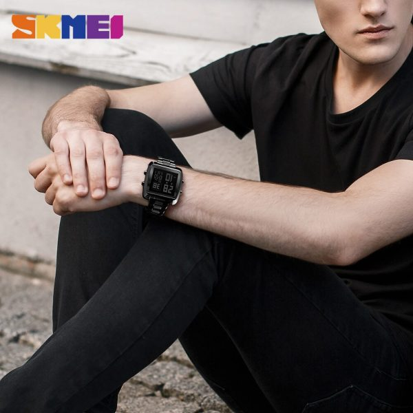 SKMEI Electronic Men's watches Countdown Stopwatch Watch Top Luxury Brand Stainless Steel LED Display Male Wristwatch Clock