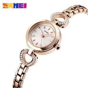 SKMEI Casual Women Female Quartz Watch Alloy Strap Waterproof Girl Ladies Wristwatch Relogio Feminino 1408 Rose Gold Silver