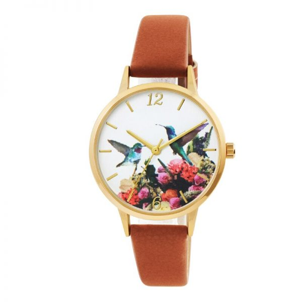 Exquisite Dial Bird Pattern Watch Soft Leather Strap Dress Watch for Women Gift Elegance Design 3D dial Printing Watch
