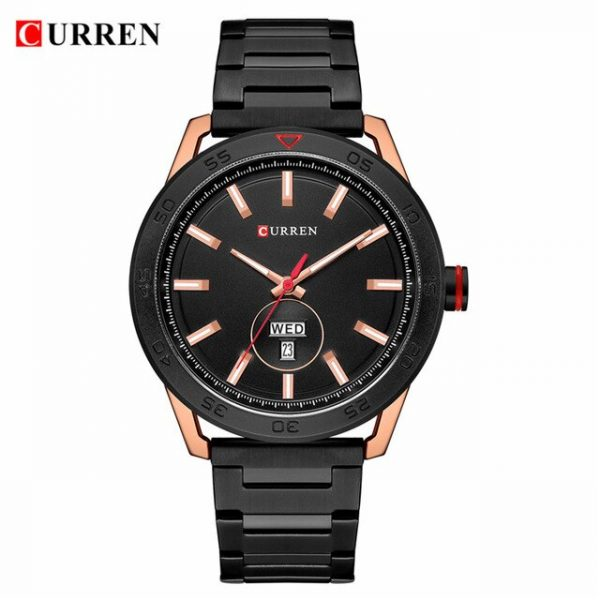 CURREN Watches for Men Luxury Stainless Steel Band Watch Casual Style Quartz Wrist Watch with Calendar Black Clock Male Gift