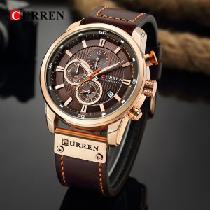 CURREN Luxury Brand Men Analog Digital Leather Sports Watches Men's Army Military Watch Man Quartz Clock Relogio Masculino Gold