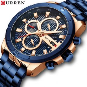 CURREN Luxury Brand Stainless Steel Sports Watch Men New Chronograph Wristwatches Fashion Casual Date Quartz Clock Mens Watches