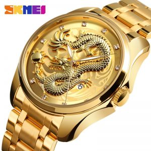 2020 SKMEI Luxury Chinese Dragon Pattern Men Golden Quartz Watch Male Watches Waterproof Wristwatches Relogio Masculino 9193