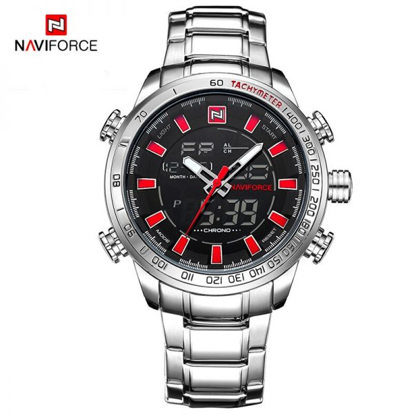 NAVIFORCE Luxury Men Military Fashion Sports Watch Steel Strap Mens LED Analog Digital Watch Male Quartz Clock Relogio Masculino