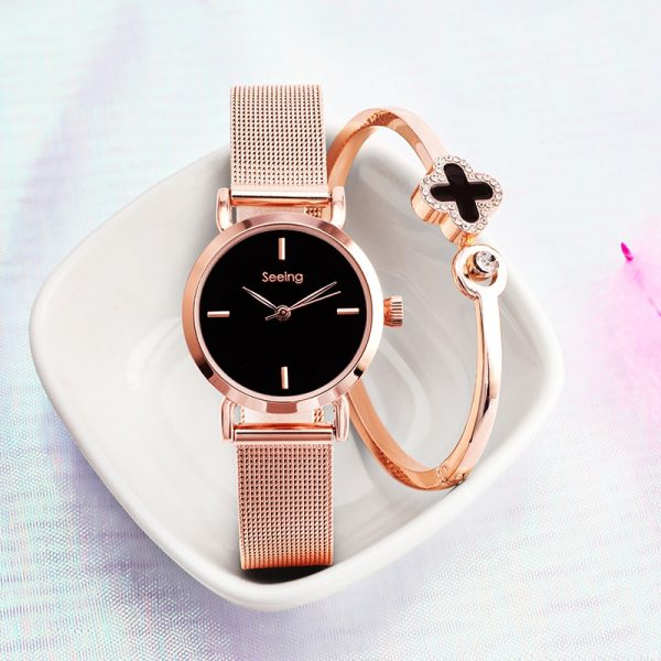 Lucky Bangle Lady Wristwatch Stainless Steel Strap Light Luxury Simple Women Bracelet Casual Stylish Female Clock