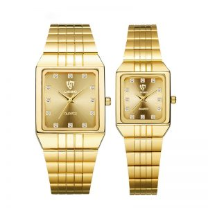 New Golden Luxury Quartz Men Women Watches Gold Bracelet Wrist Watches Stainless Steel Fashion Female Male Clock Gift 8808