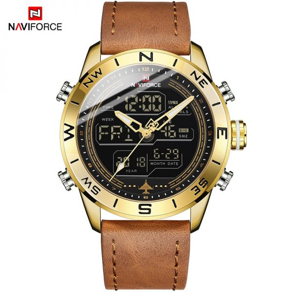 NAVIFORCE Digital Sport Watches Mens Luxury Brand Military Chronograph Quartz Wristwatch Male Leather Waterproof Luminous Clock