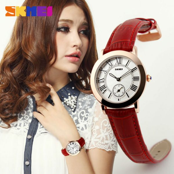 SKMEI Women Ladies Quartz Watch Women's Watches Genuine Leather Band Waterproof Clock Montre Femme Reloj Mujer Wristwatch 1083