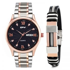 Men Analog Quartz Watch Steel Silicone Bracelet Waterproof Stainless Steel Strap Retro Rose Gold Diamond Dial Dropshipping