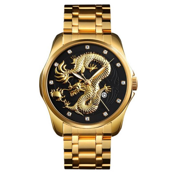 SKMEI Luxury Golden Men Quartz Watch Chinese Dragon Pattern Waterproof Male Wristwatch Montre homme Relógio de homem Clock 9193
