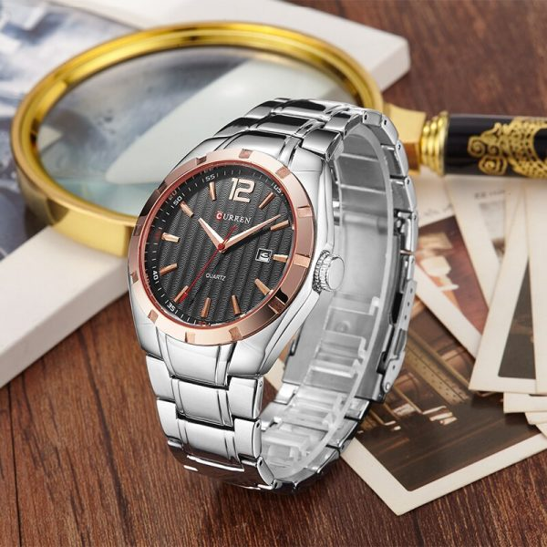CURREN Top Brand Luxury Men Square Waterproof Sport Watches Men's Quartz Steel Wrist Watch Male Black Clock relogio masculino