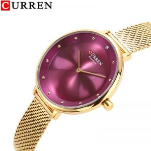 CURREN 9029 Female Quartz Watch Gem Dial Ultra-Thin Knit Strap Top Brand Female Luxury Wristwatch Girl Clock Relogio Feminino