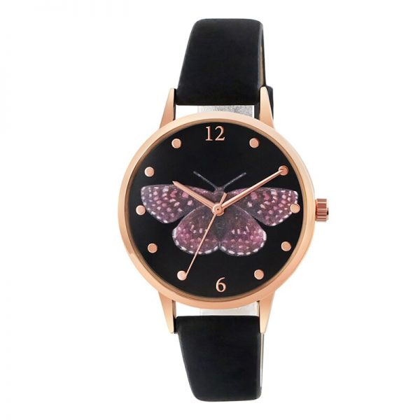 Luxury Leather Women Dress Watches Wristwatch Fashion Butterfly Ladies Bracelet Female Round Clock Quartz Watch 3D priting watch